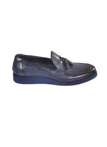 Luciano Bellini Hakiki Deri E1302 Lacivert Erkek Günlük Ayakkabı Lacivert
